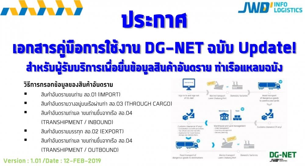 ประกาศ Update เอกสารคู่มือการใช้ Manual DG-Net_V1.01 DATE : 12-FEB-2019