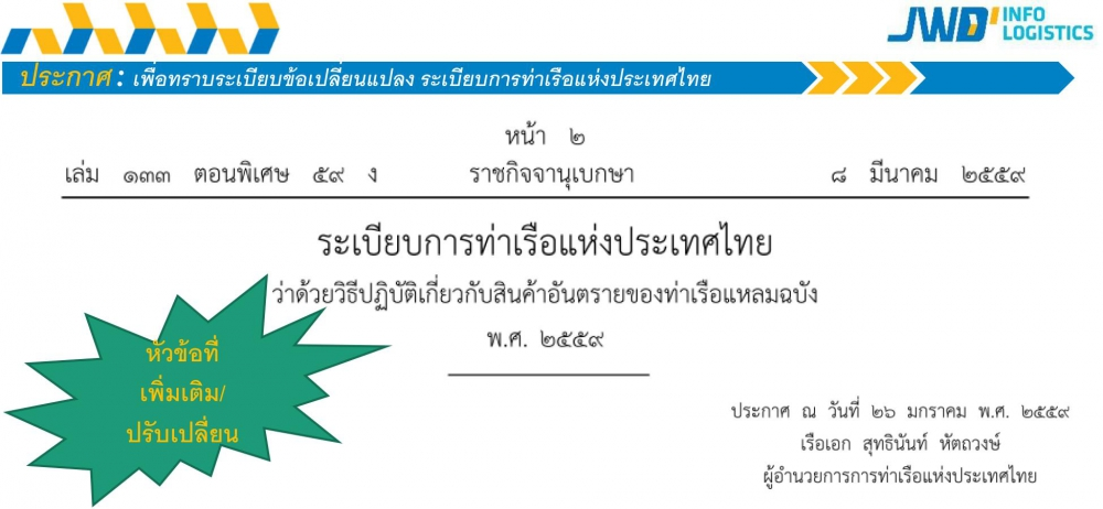 Announcement of the Port Authority of Thailand 2016