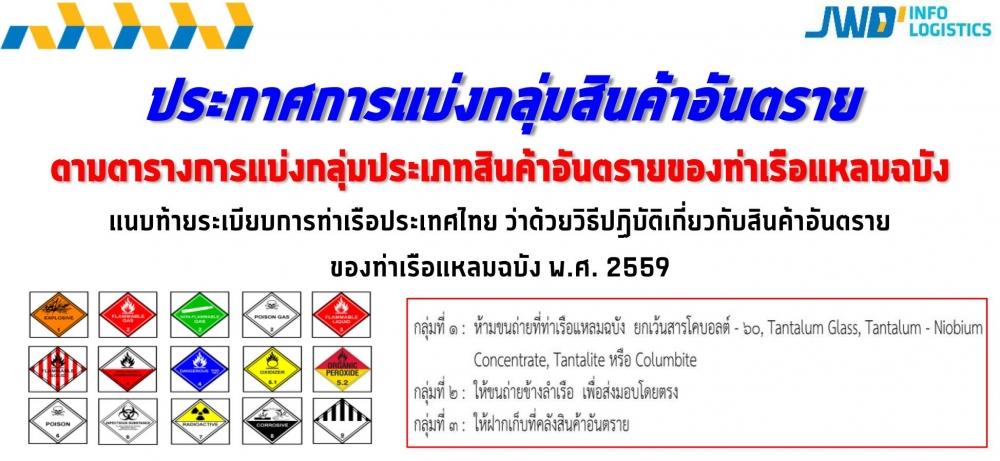 ประกาศตารางการแบ่งกลุ่มประเภทสินค้าอันตรายของท่าเรือแหลมฉบัง ตามประกาศระเบียบการท่าเรือแห่งประเทศไทย ว่าด้วยวิธีปฏิบัติเกี่ยวกับสินค้าอันตรายของท่าเรือแหลมฉบัง พ.ศ. 2559